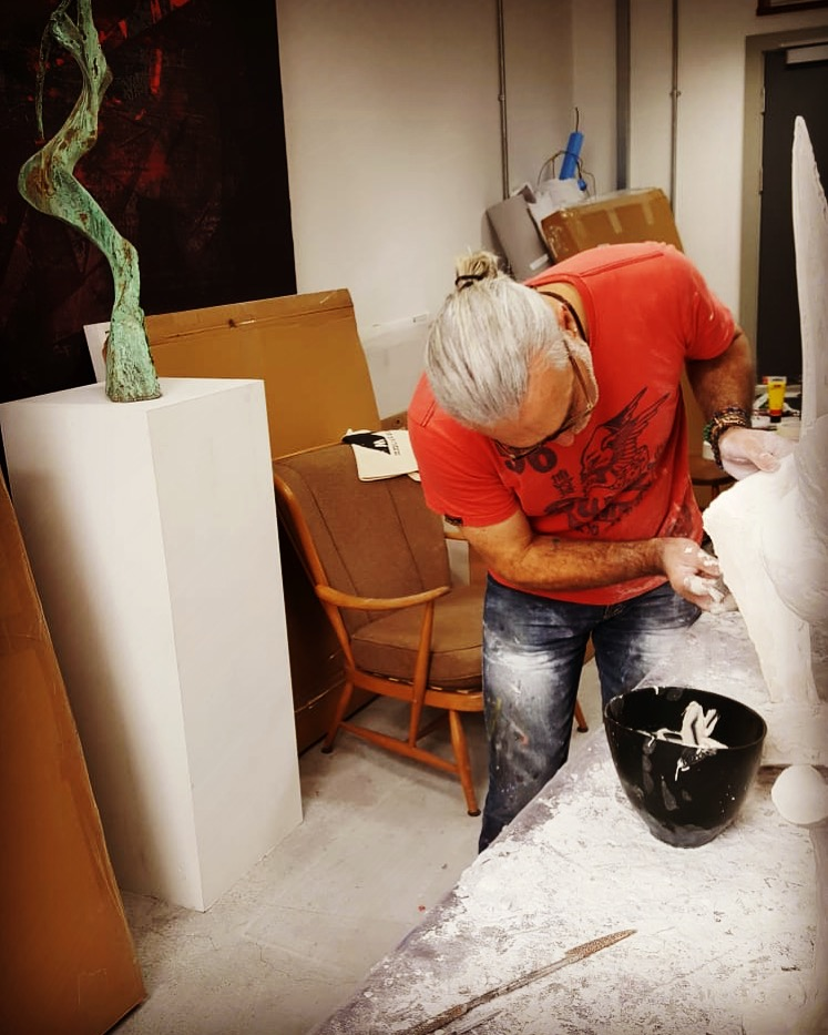 Working on a New Plaster in the Studio